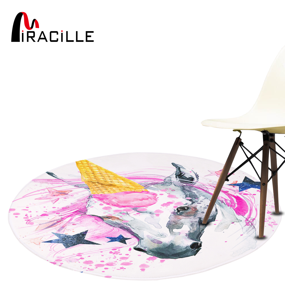Miracille Cute Unicorn Designer Round Mat Floor Balcony Doorway Welcome Door Carpets Home Decor For Washroom Bedroom Anti-slip