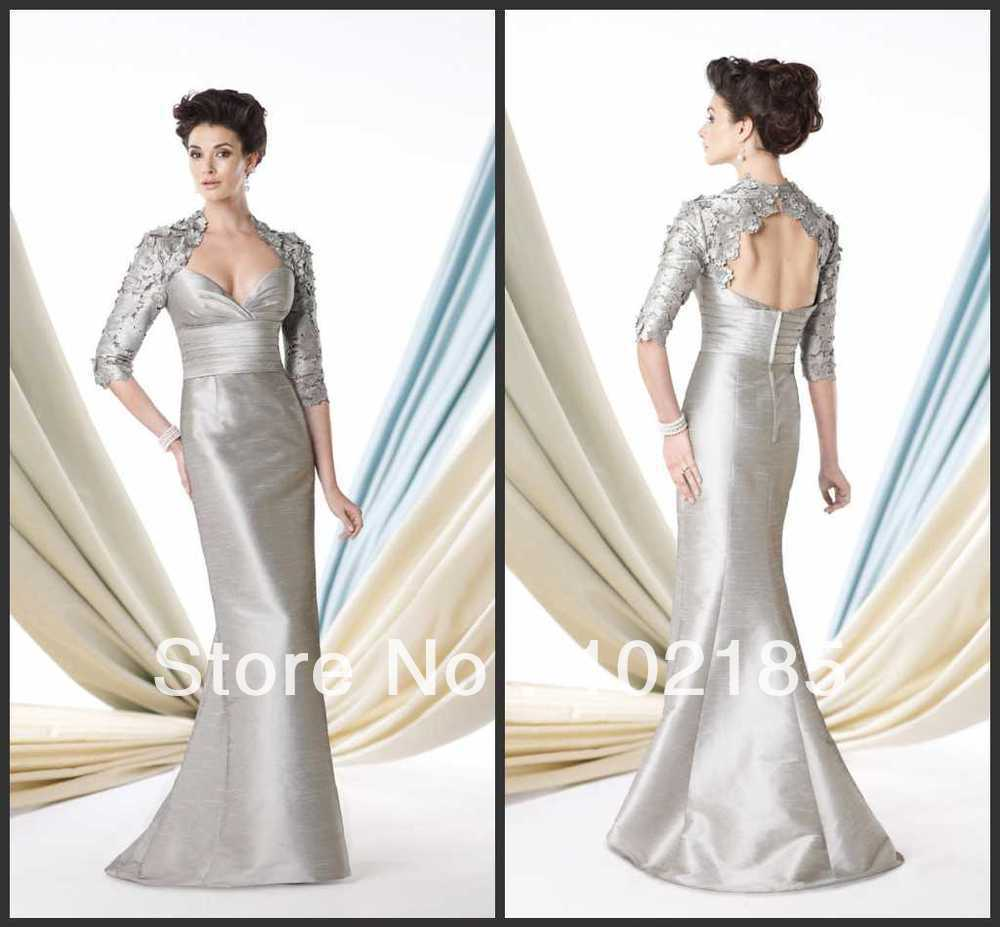 Unusual Mother Of The Bride Dresses: Unique Design!Floor Length Half Sleeve Taffeta Wedding