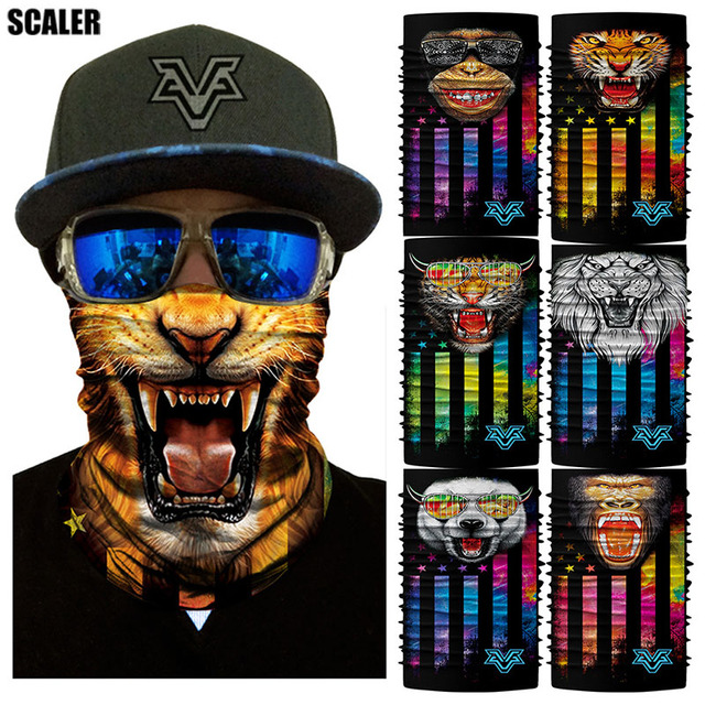 3D Animal Seamless Bandana Tiger Dog Gorilla Neck Face Mask