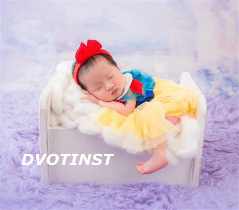 Dvotinst Новорожденный ребенок Фотография реквизит Принцесса Белоснежка платье + головной убор Косплей Костюм студийная съемка фото реквизит