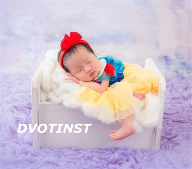 Dvotinst Newborn Baby Photography Props Fotografia Princess Snow White Dress+Headwear Cosplay Costume Studio Shoot Photo Props