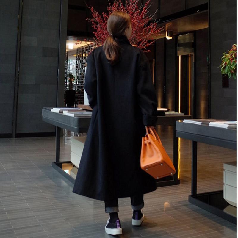 2019 New Arrive Brand Women Cashmere Coat Warm Autumn Winter Overcoat Belt Full Sleeve Coats Woman Casual Casaco Feminino GQ1650 - 5