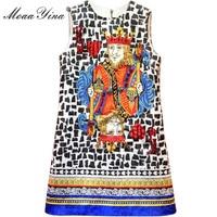 MoaaYina Fashion Designer Runway Dress Summer Women Sleeveless Jacquard Playing Cards Beaded Sequins Diamond Vintage Dress