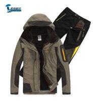Protective 2016 новое прибытие softshell куртка мужчины открытый трех частей костюм водонепроницаемый тепловой куртка лайнера ветрозащитный брюки
