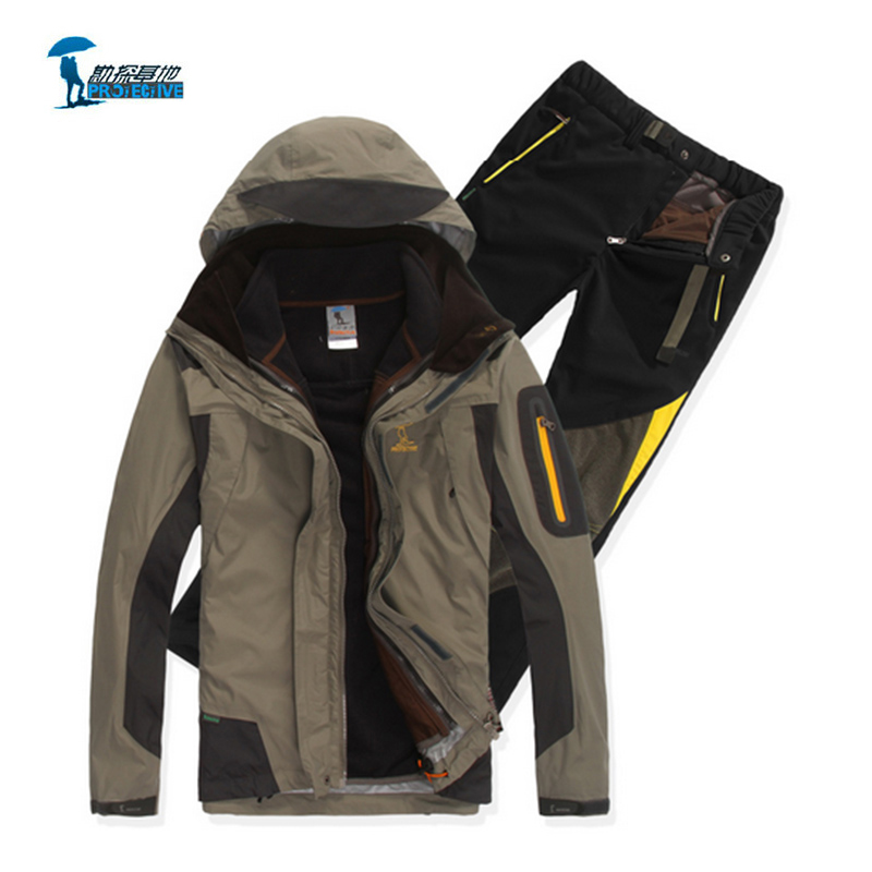 Protective 2016 New Arrival Softshell Jacket Men Outdoor Three Piece Suit Waterproof Jacket Thermal Jacket Liner
