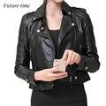 Novo revestimento das mulheres casaco curto feminino jaqueta de couro PU magro montagem preto jaqueta com zíper de alta qualidade encabeça mulheres jaqueta outwear YF273