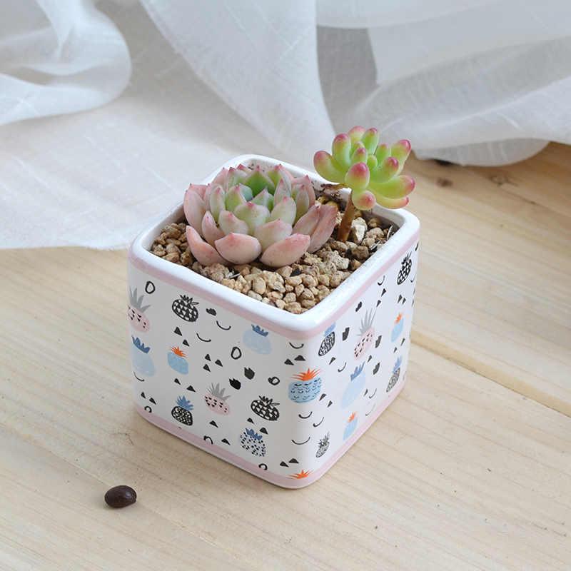 セット 2 のハンドペイント植木鉢セラミック多肉植物ポット磁器デスクトップサボテン盆栽プランター