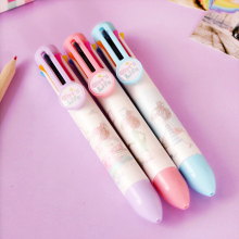 цены 5pcs/lot Small fresh  eight color 8 color pen cute girl cartoon multicolor press  pen