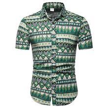 Plus size 4XL 5XL Plaid Social Shirt for Men Short-sleeved Cotton Linen Shirts Men Summer Hawaiian Blouse Man New 11 5xl