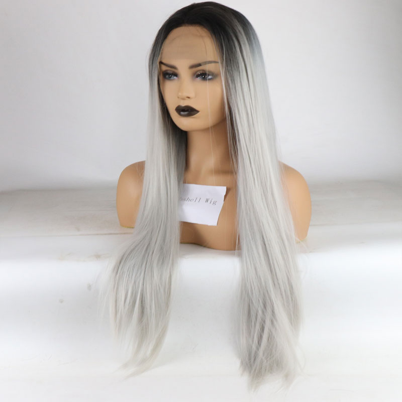 Bombshell Black Roots Ombre Silver Grey Long Straight Hair Synthetic Lace Front Wigs Glueless Heat Resistant