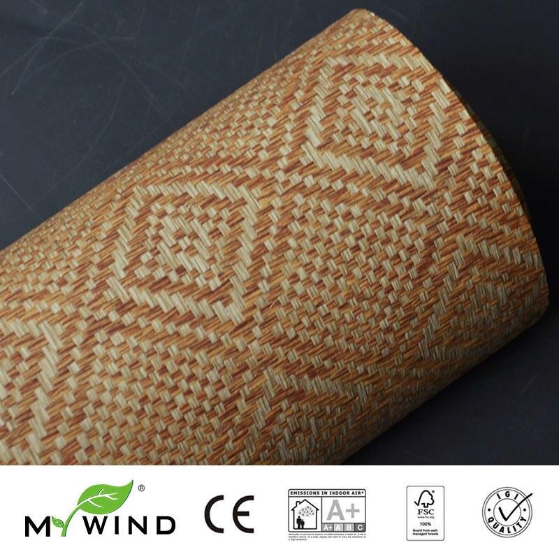 2019 MY WIND Grasscloth Wallpaper Paper Weave 3D Damask Wallpapers Designs Furniture Wallcovering Natural Living Room Hotel