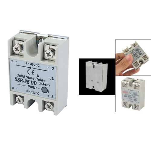 Promotion! New Plastic Metal Solid State Relay SSR DC-DC 25A 3-32VDC/5-60VDC 5 60vdc to 3 32vdc 40a ssr 40dd solid state relay module with plastic cover