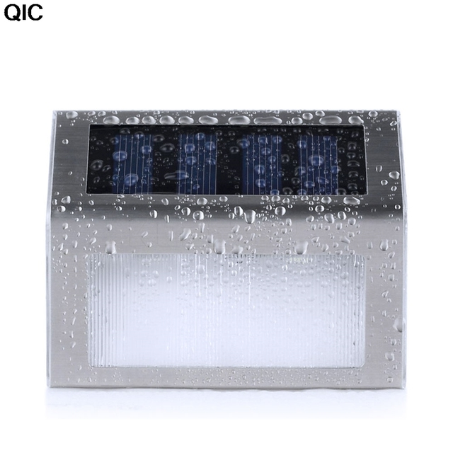 Qic 2 светодиодных солнечной Мощность ED Нержавеющая сталь лестница шаг настенный светильник для сада приспособление Освещение открытый Водонепроницаемый закон лампы Мощность