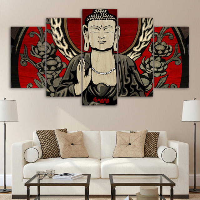 Canvas Wall Art Frame Poster HD Printed Pictures 5 Pieces Buddha Meditation  Zen Modular Painting Living Part 84