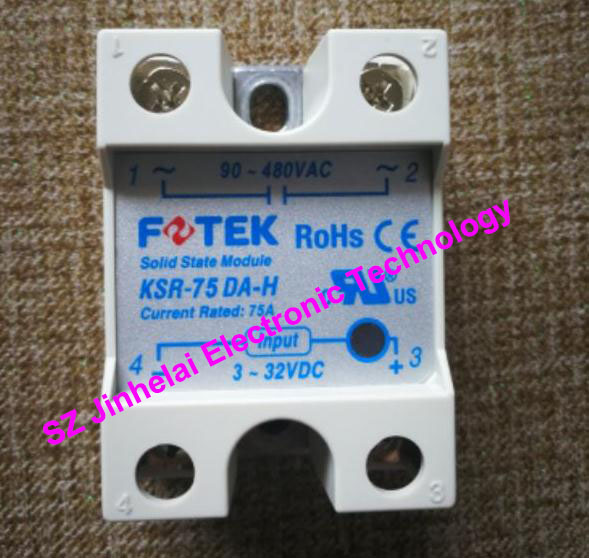 New and original FOTEK Economical solid state relay KSR-75DA-H  75A   90-480VAC   3-32VDC 100% new and original fotek photoelectric switch a3g 4mx mr 1 free power photo sensor