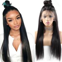 Allove Straight Lace Front Human Hair Wigs For Black Women Brazilian Remy Hair Wig With Baby Hair Natural Hairline Full End