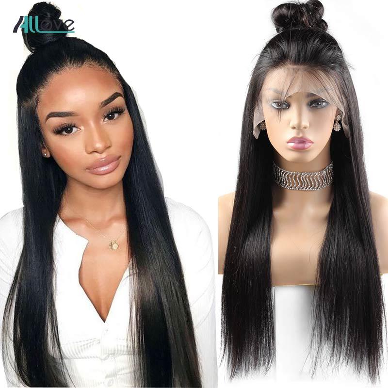 Perruques de cheveux humains avant de dentelle droite Allove pour les femmes noires perruque avant de dentelle droite 8-24 Remy perruque brésilienne 250 densité perruque de dentelle