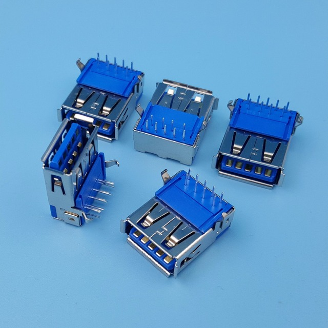 50Pcs High Speed USB 3.0 Type A Right Angle Female 9Pin DIP PCB Socket Solder Connector