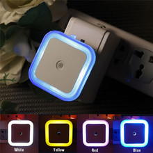 EU 220V Mini square Led Night Light Wireless Detector control Auto On/Off wall Lamp for Closet Corridor Cabinet WC