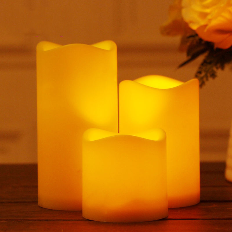 3PCS Flickering Flameless Resin Pillar LED Candle Lights with 6 Hour Timer
