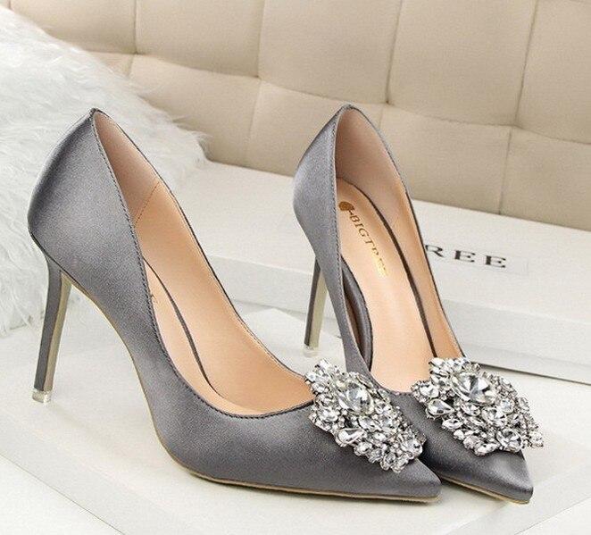 Bigtree Silber Grau Schwarz Frauen Braut Hochzeit Schuhe Faux Silk