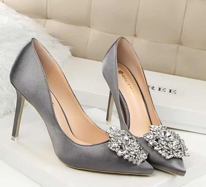 Tree Silver Gray Black Women Bridal Wedding Shoes Faux Silk Satin Rhinestone Crystal Shallow Woman Pumps Stiletto High Heel In S From