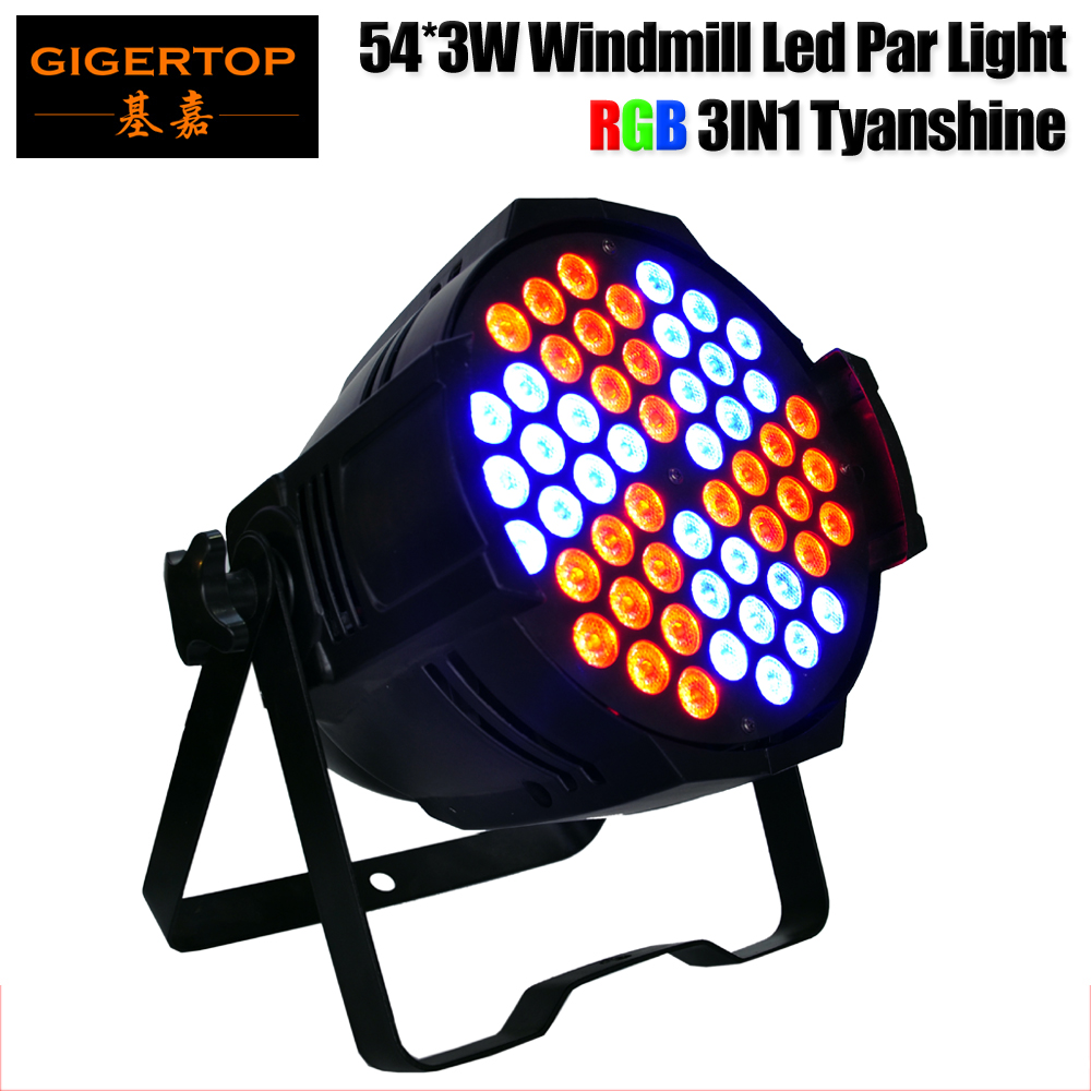 Freeshipping Gigertop 130W 54 X 3W RGB 3IN1 Windmill Aluminum Led Par Light Individual Led Lamp Board Control 3/6/10CH CE ROHS