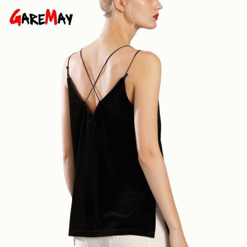 Garemay ベルベットキャミトップ背中のストラップ V ネック夏のストリートスタイルのセクシーな女性キャミソール因果