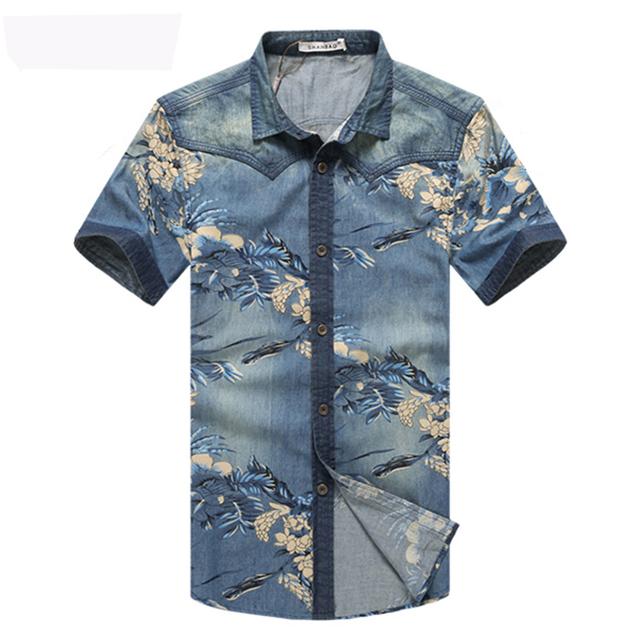 2016 Nuevo Verano Camisa de Mezclilla de Los Hombres de La Marca de Moda de Impresión de Manga Corta flor Camisas Ocasionales de Los Hombres Slim Fit Camisa de Algodón Para Hombre 4XL 5XL