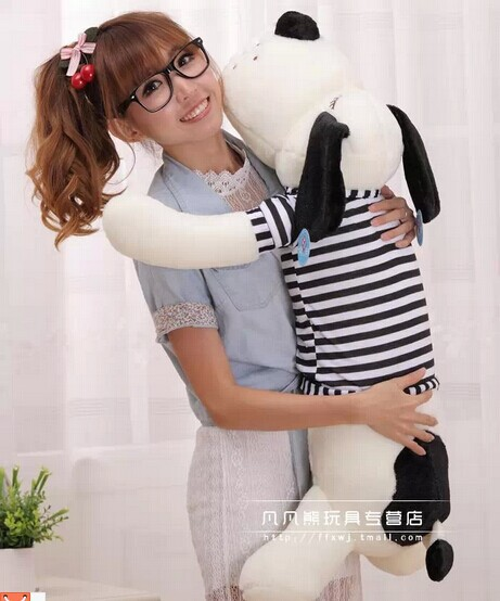 stuffed animal 110 cm lying dog plush toy stripes cloth dog doll sleep pillow boyfriend's pillow gift w3611 super cute plush toy dog doll as a christmas gift for children s home decoration 20