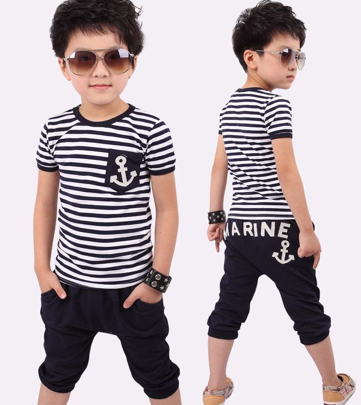 Spring Kids Clothes, Navy Long Sleeve Pullover Striped Sports Suit, Hot Sale New 2016 Casual Boys Clothing Set kids boys long sleeve pullover shirt jeans denim trousers 2016 spring kids clothes casual boys clothing set