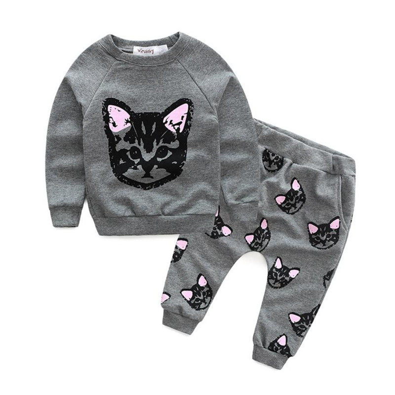 Super Deal children clothing  Baby Kids Set Clothes Long Sleeve Cats Print Tracksuit +Pants Outfits Set 2pcs girls sets