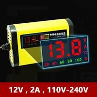 12 v 2a carregador de bateria da motocicleta carro inteligente totalmente automático display lcd 12 v volt moto auto chumbo ácido agm gel inteligente 220 v ue|Carregadores| |  -