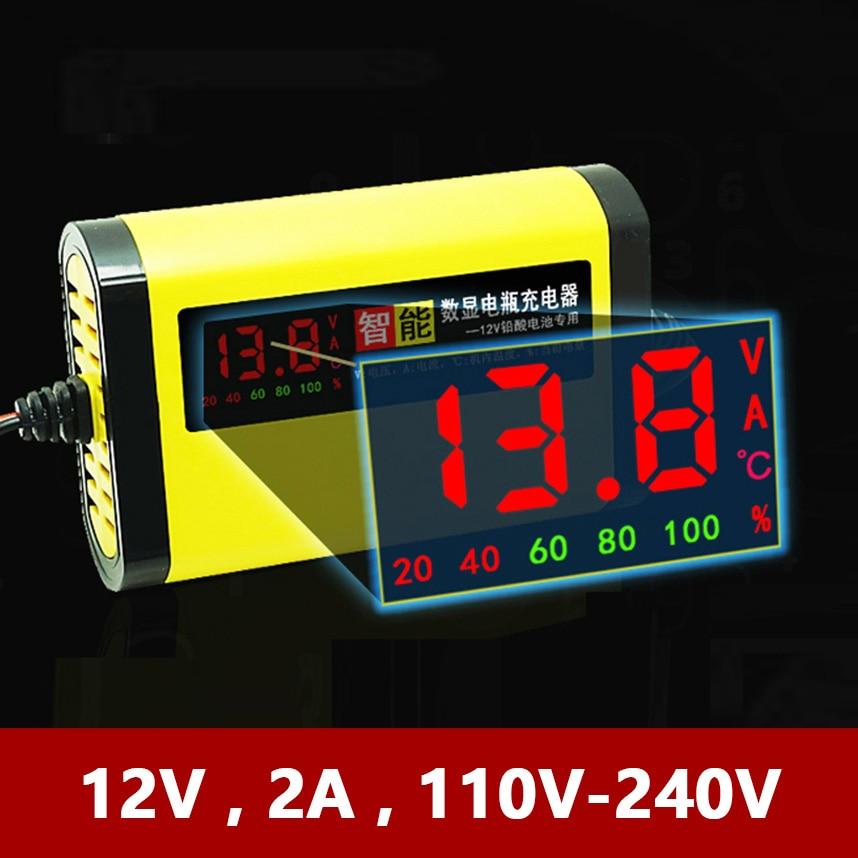 12V 2A Smart Car Motorcycle Battery Charger Full Automatic LCD Display 12 V Volt Moto Auto Lead Acid AGM GEL Intelligent 220V EU
