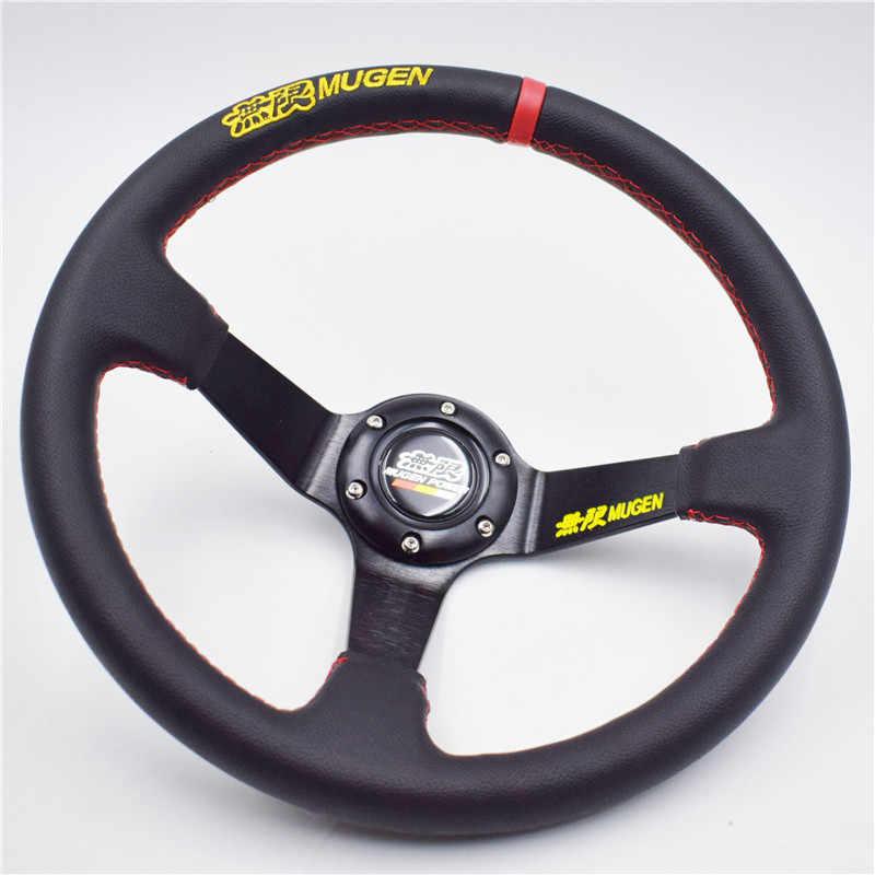 Nouveau volant à la dérive en cuir véritable MUGEN de 14 pouces pour voiture de course Honda