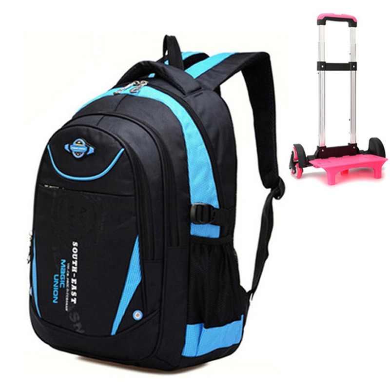 de6b344f4de1 Волшебный союз съемный детей школьные сумки тележки 3 колеса для девочек и  мальчиков рюкзак для тележки