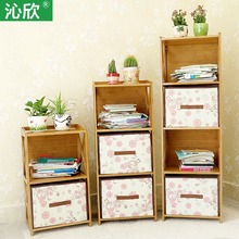 Simple thick wood Creative Kids bookcase bookcase home bamboo Korean combination locker small cabinet Specials
