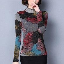 Blouses Women Plus Size 6XL Warm Tops Autumn Winter Long Sleeve Elegant Print Women Blouse Shirt Thick Plus Velvet Blusas Femme