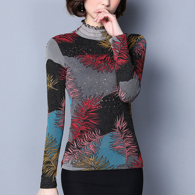 2bcafbfffc1 Plus Size 6XL warm Blouses Women Tops autumn winter long Sleeve Elegant  print Women blouse Shirt