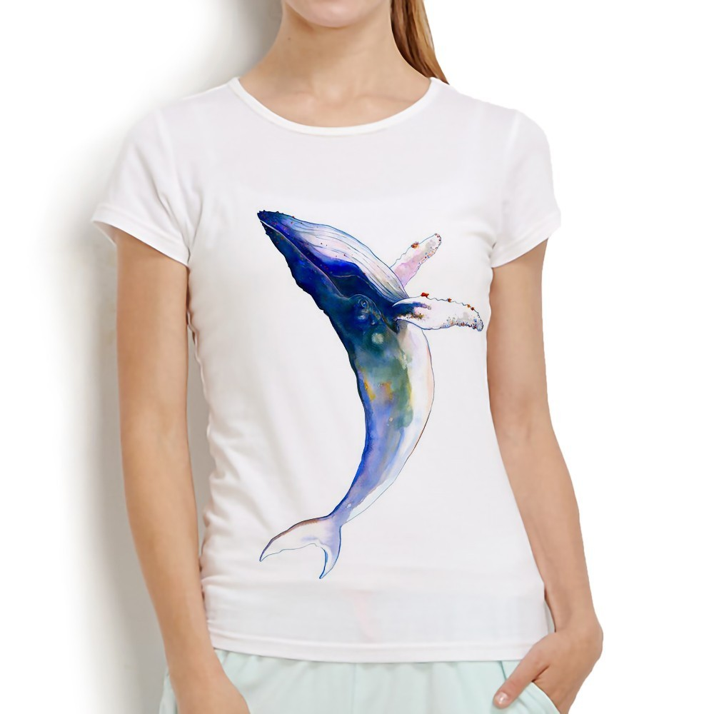 Cute Watercolor Blue Jupming Whale T Shirt Women Summer New White Short Sleeve O-neck Soft Casual Tshirt No Glue Print