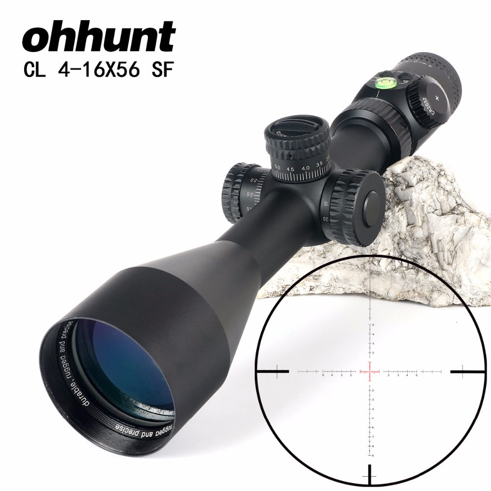 ohhunt CL 4-16X56 SF Hunting Optics Riflescopes Glass Etched Reticle Side Parallax Turrets Lock Reset Scope with Bubble Level sniper ck 4 16x50 fpsal hunting rifle scope side parallax adjustment glass etched reticle rg illuminated with bubble level