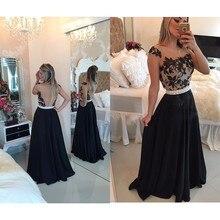 Fancy Long Prom Dresses Back See Through Appliques Handmade Pearls Cap Sleeves A Line Black Dress Floor Length Chiffon
