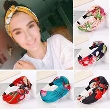 купить Korean Style Women Flower Floral Bohemian Headband Vintage Cross Knot Elastic Hair Bands for Women Elastic Boho Hairband Turban дешево