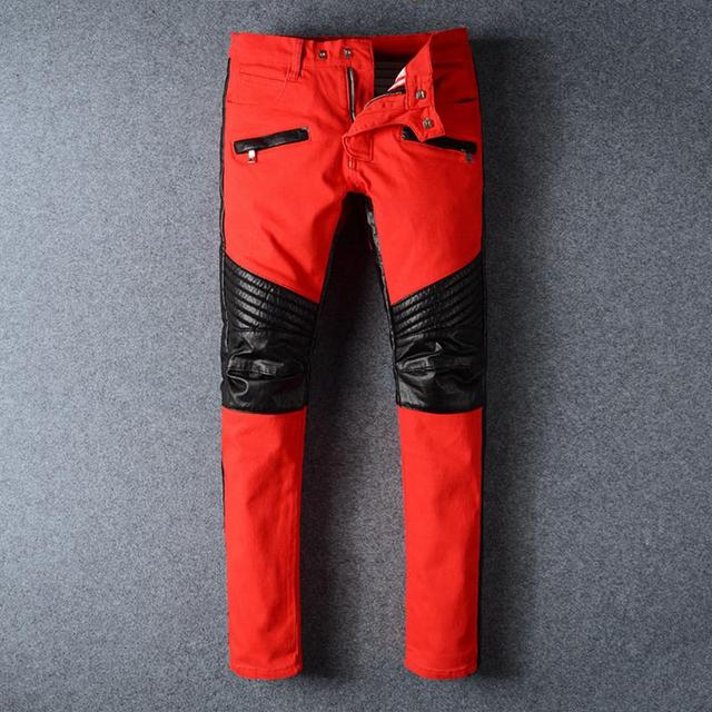 e53103f041e New Red Ripped Biker Jeans Men With Holes Famous Designer Brand Slim Fit  Destroyed Torn PU Patchwork Jean Pants For Male Homme