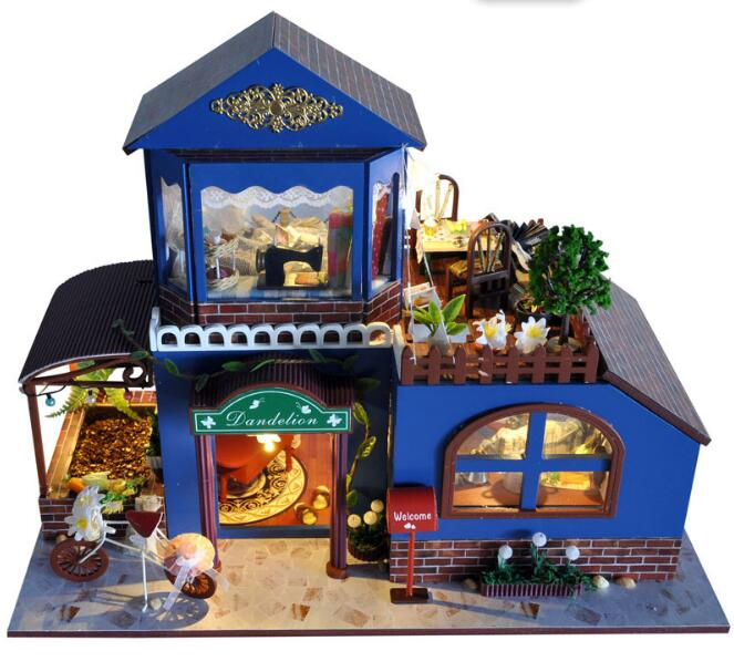Assembling DIY Miniature Model Kit Wooden Doll House Romantic Provence House Toy with Furnitures & Convertible Gift for Girl free shipping assembling diy miniature model kit wooden doll house house toy with furnitures