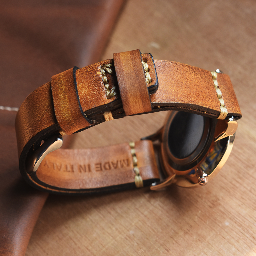 Pulseira de Couro Feitos à Mão do Vintage Faixa de Relógio Acessórios Relógio Pulseira 22mm 24mm Amarela Alta Qualidade 2020 Novo 18mm 20mm