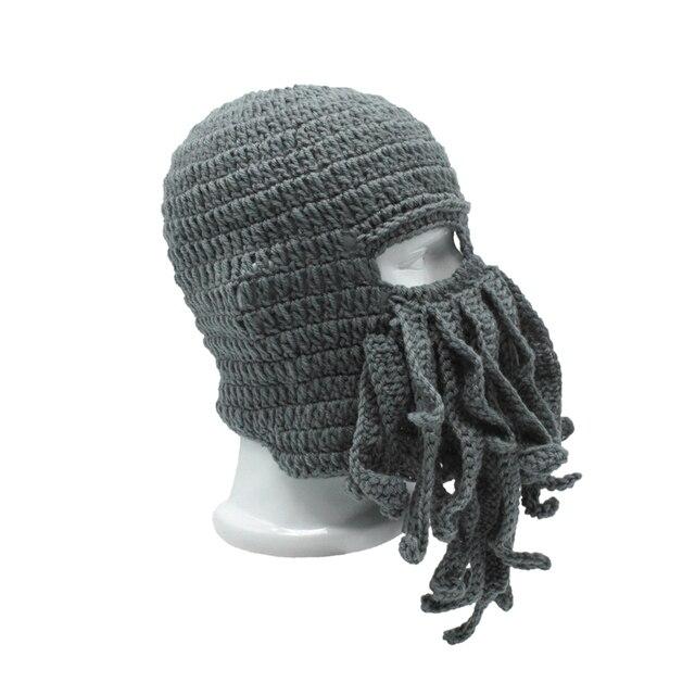 d83909d23424d4 Funny Men's Women's Barbarian Vagabond Beanie Hat Octopus Winter Hats Adult  Acrylic Novelty Unisex Tentacle Mask Skullies