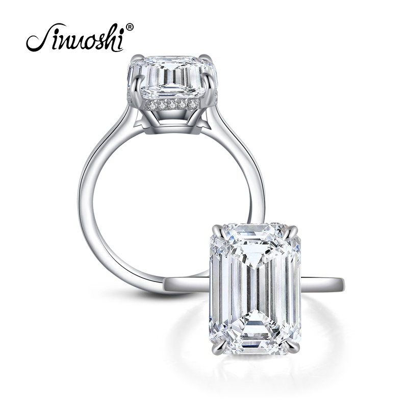 AINUOSHI 6 Carat Emeralded Cut Halo Ring Engagement Wedding Sterling Silver Ring Jewelry Gifts for Women