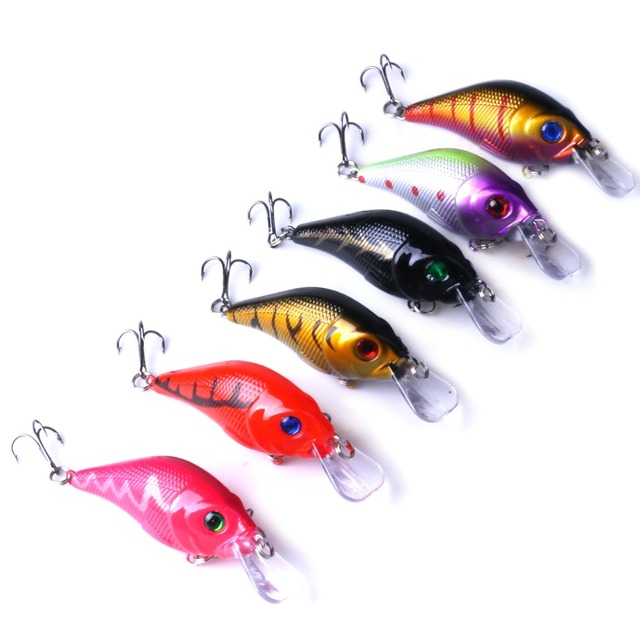 US $6 51 30% OFF|6pcs fishing lures crank bait molds 7 5cm 10 2g Hard Baits  Fishing lures plastic crank bait Fishing tackle -in Fishing Lures from