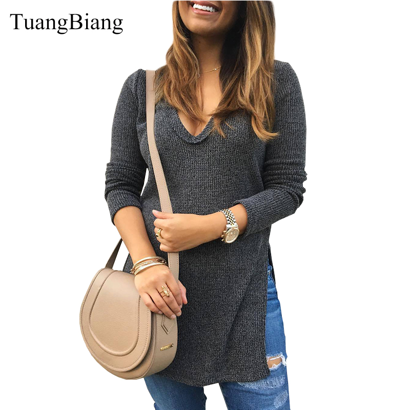 Winter Flannel V-Neck Full Sleeve 2018 Women Loose Tops Solid Split Hem Tee Cotton Casual Lady Autumn Ladies Long Style T-shirts